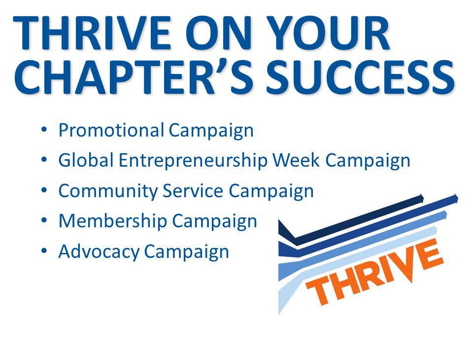 THRIVE ON YOUR CHAPTERS SUCCESS Promotional Campaign Global Entrepreneurship Week Campaign Community Service Campaign Membership Campaign Advocacy Cam