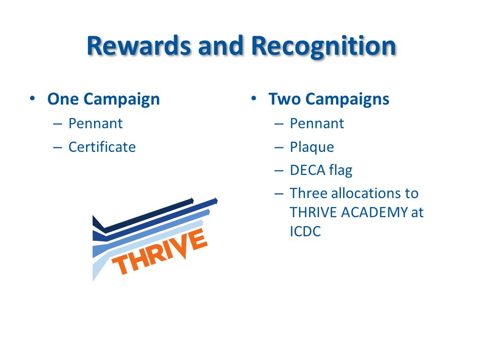 Rewards and Recognition One Campaign – Pennant – Certificate Two Campaigns – Pennant – Plaque – DECA flag – Three allocations to THRIVE ACADEMY at ICD
