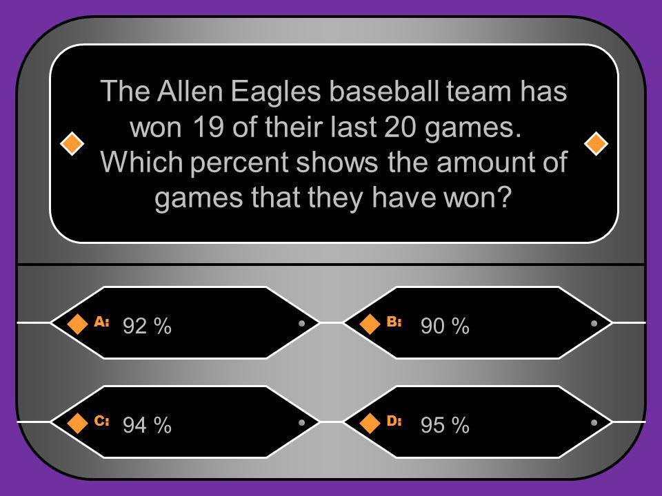 A:B: 92 %90 % The Allen Eagles baseball team has won 19 of their last 20 games.