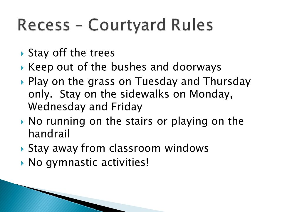 Stay off the trees Keep out of the bushes and doorways Play on the grass on Tuesday and Thursday only.