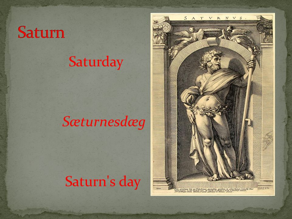 Saturday Sæturnesdæg Saturn s day