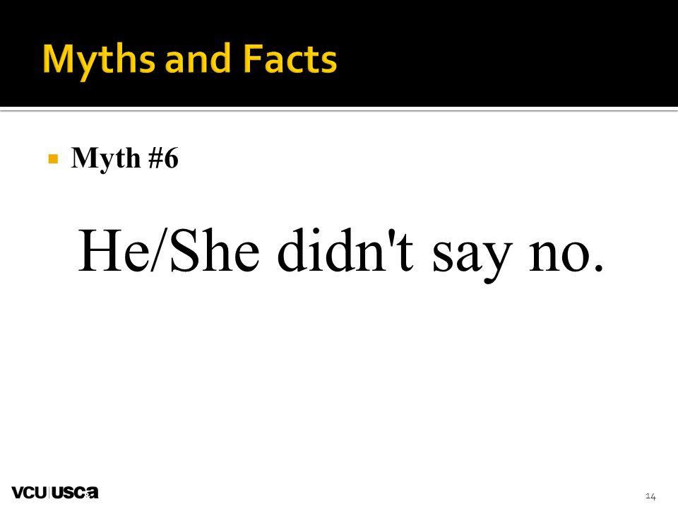 Myth #6 He/She didn t say no. 14