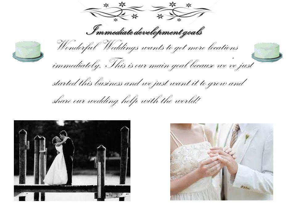 Immediate development goals Wonderful Weddings wants to get more locations immediately.