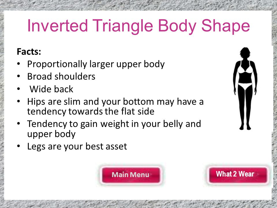 Inverted Triangle Body Shape Facts: Proportionally larger upper body Broad shoulders Wide back Hips are slim and your bottom may have a tendency towards the flat side Tendency to gain weight in your belly and upper body Legs are your best asset Main Menu What 2 Wear