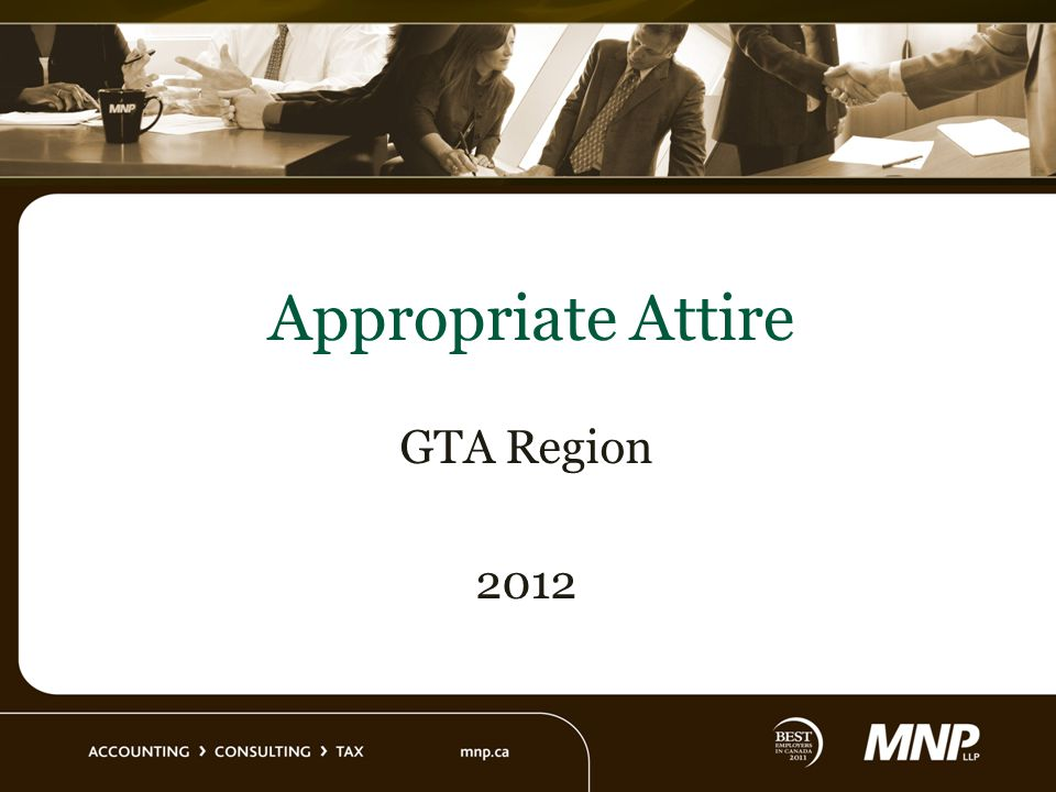 Appropriate Attire GTA Region 2012