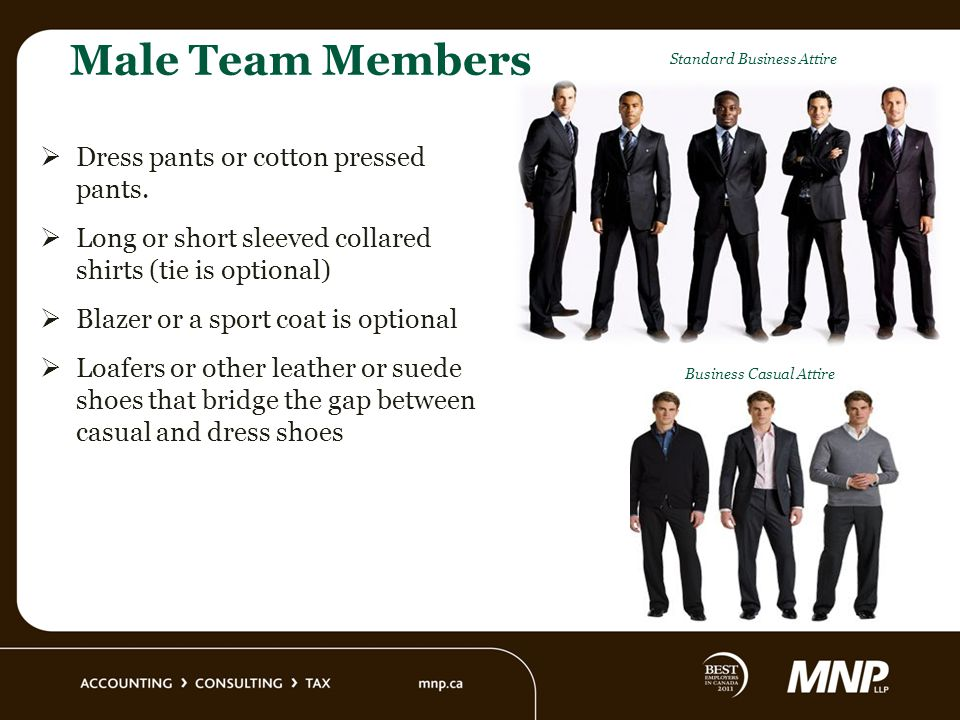 Male Team Members Dress pants or cotton pressed pants.
