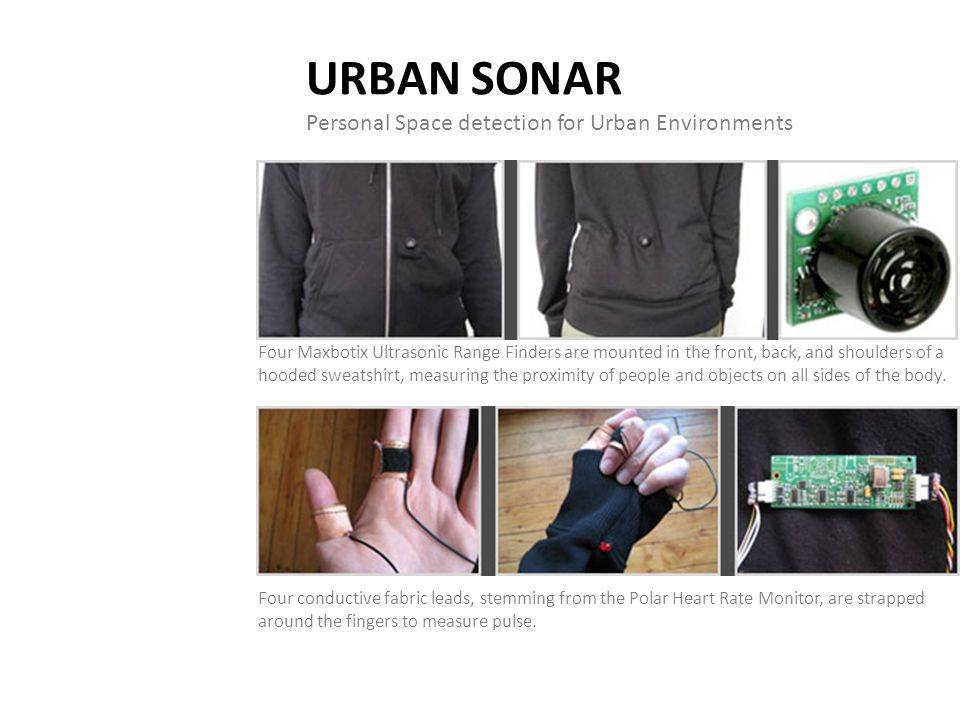 URBAN SONAR Personal Space detection for Urban Environments Four Maxbotix Ultrasonic Range Finders are mounted in the front, back, and shoulders of a