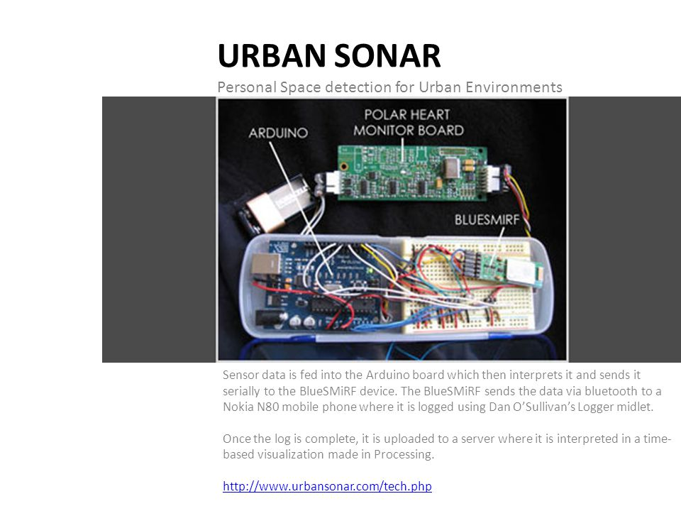 URBAN SONAR Personal Space detection for Urban Environments Sensor data is fed into the Arduino board which then interprets it and sends it serially t