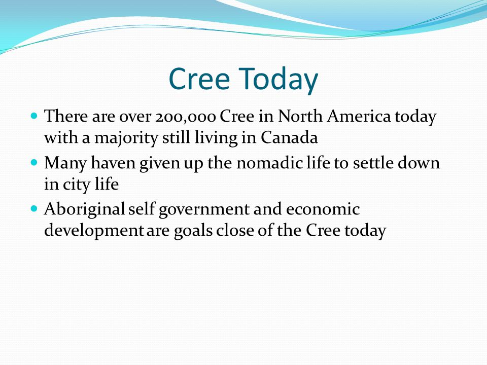Cree Today There are over 200,ooo Cree in North America today with a majority still living in Canada Many haven given up the nomadic life to settle down in city life Aboriginal self government and economic development are goals close of the Cree today