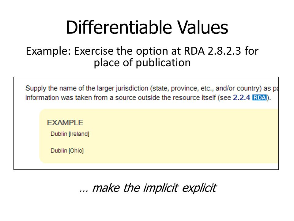 Differentiable Values Example: Exercise the option at RDA 2.8.2.3 for place of publication … make the implicit explicit