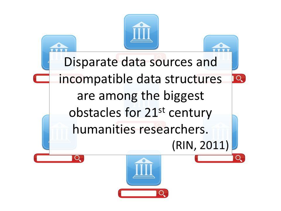 Disparate data sources and incompatible data structures are among the biggest obstacles for 21 st century humanities researchers. (RIN, 2011)