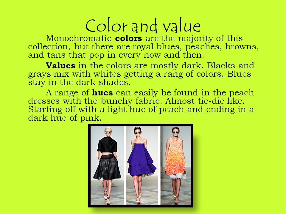 Color and value Monochromatic colors are the majority of this collection, but there are royal blues, peaches, browns, and tans that pop in every now and then.