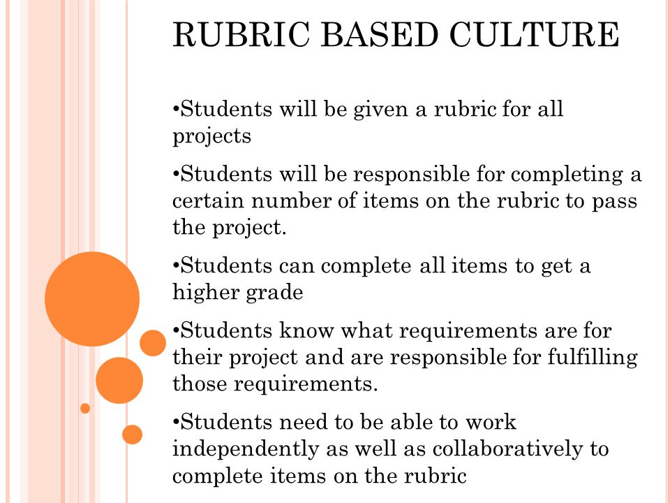 RUBRIC BASED CULTURE Students will be given a rubric for all projects Students will be responsible for completing a certain number of items on the rubric to pass the project.