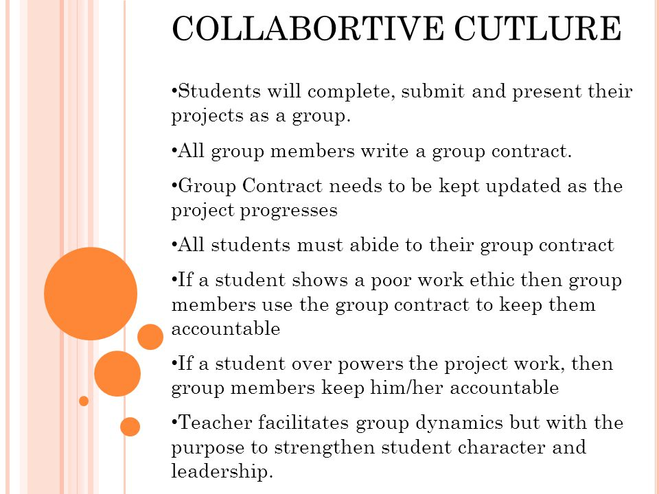 COLLABORTIVE CUTLURE Students will complete, submit and present their projects as a group.
