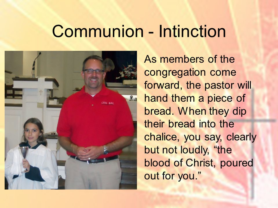 As members of the congregation come forward, the pastor will hand them a piece of bread.