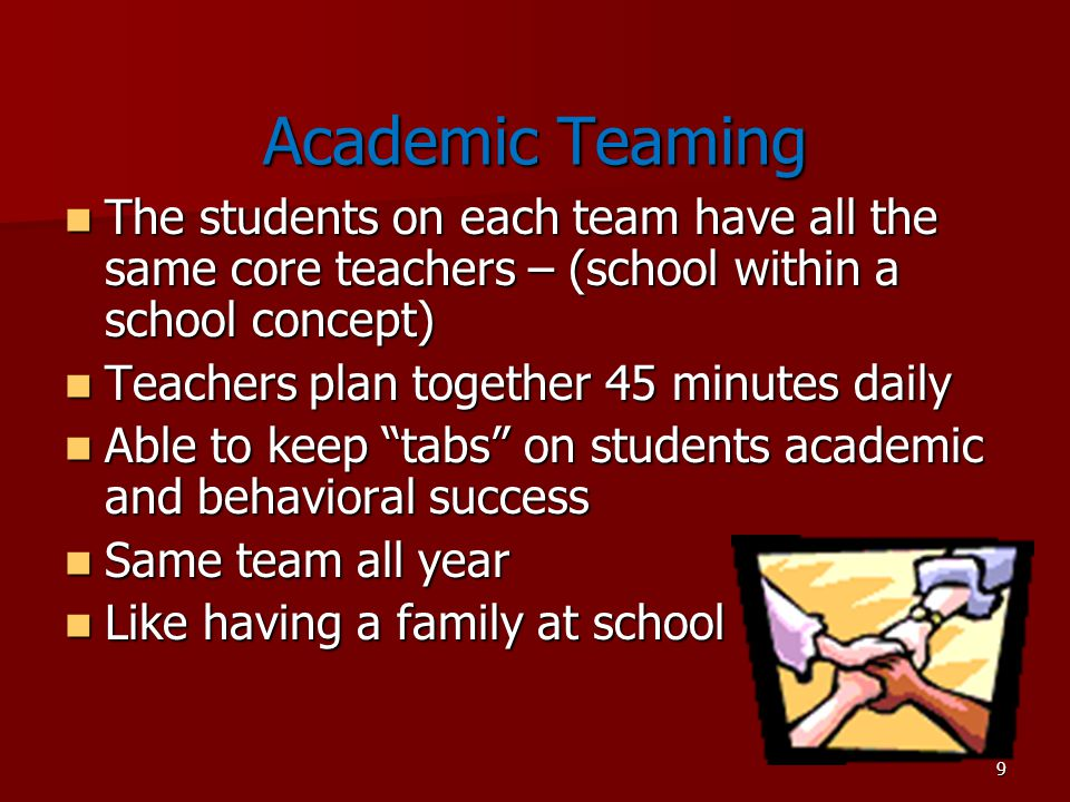 9 Academic Teaming The students on each team have all the same core teachers – (school within a school concept) The students on each team have all the same core teachers – (school within a school concept) Teachers plan together 45 minutes daily Teachers plan together 45 minutes daily Able to keep tabs on students academic and behavioral success Able to keep tabs on students academic and behavioral success Same team all year Same team all year Like having a family at school Like having a family at school