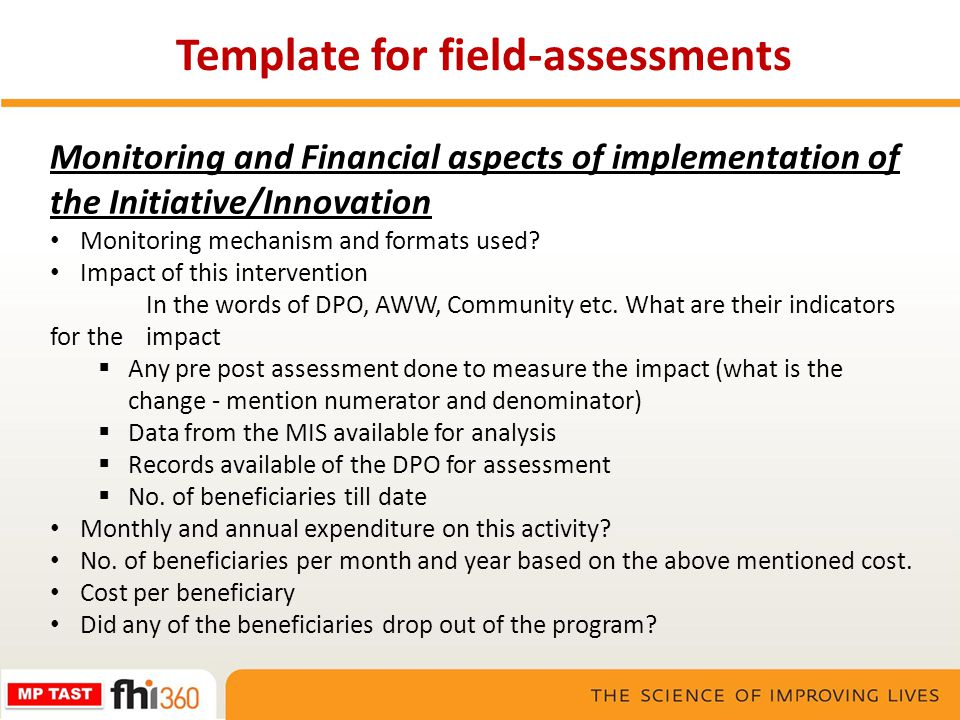 Monitoring and Financial aspects of implementation of the Initiative/Innovation Monitoring mechanism and formats used? Impact of this intervention In