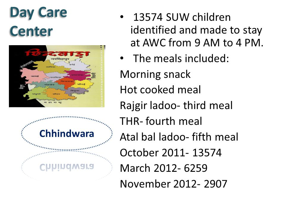 Day Care Center 13574 SUW children identified and made to stay at AWC from 9 AM to 4 PM. The meals included: Morning snack Hot cooked meal Rajgir lado