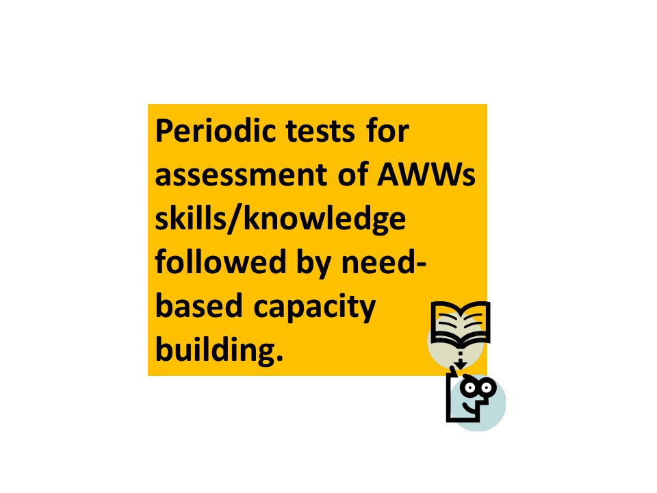 Periodic tests for assessment of AWWs skills/knowledge followed by need- based capacity building.