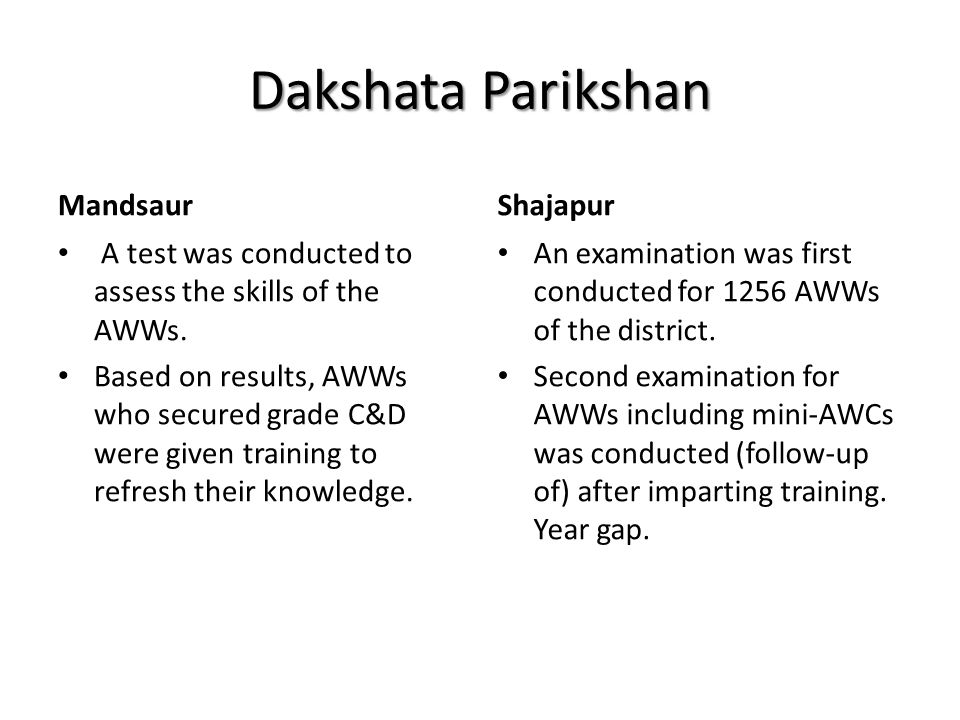 Dakshata Parikshan Mandsaur A test was conducted to assess the skills of the AWWs. Based on results, AWWs who secured grade C&D were given training to