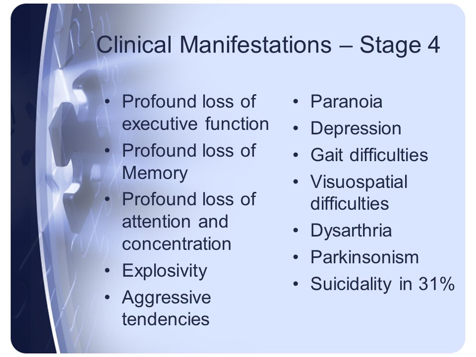 Clinical Manifestations – Stage 4 Profound loss of executive function Profound loss of Memory Profound loss of attention and concentration Explosivity