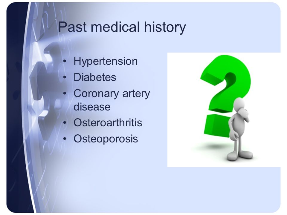 Past medical history Hypertension Diabetes Coronary artery disease Osteroarthritis Osteoporosis