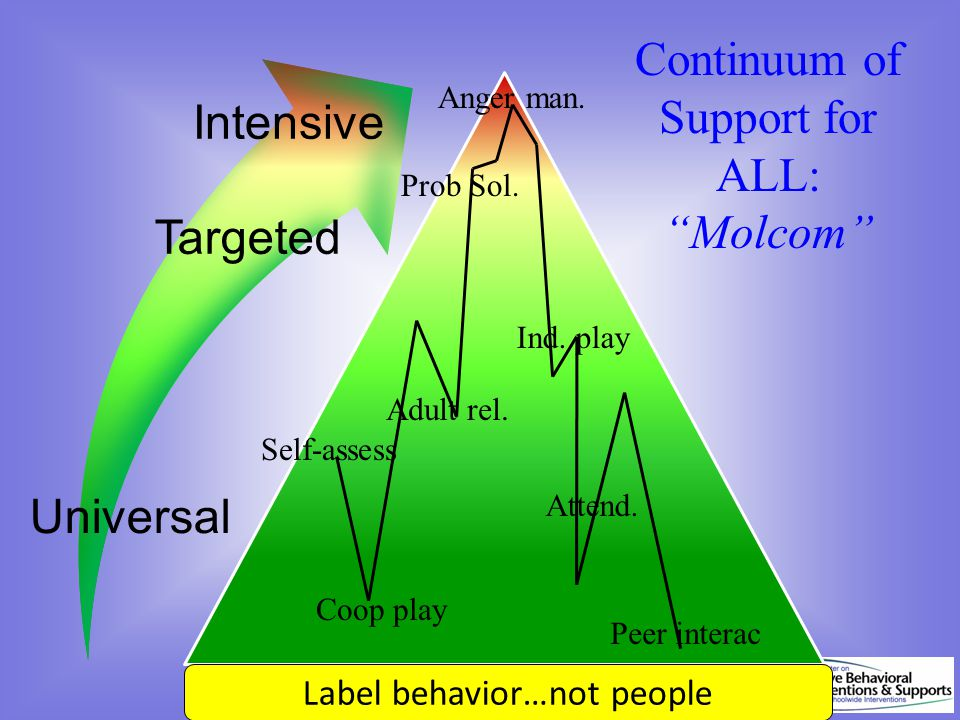 Continuum of Support for ALL: Molcom Dec 7, 2007 Prob Sol. Coop play Adult rel. Anger man. Attend. Peer interac Ind. play Label behavior…not people Se
