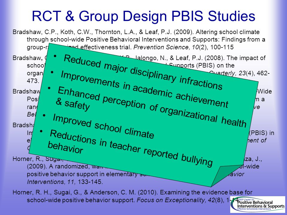 Bradshaw, C.P., Koth, C.W., Thornton, L.A., & Leaf, P.J. (2009). Altering school climate through school-wide Positive Behavioral Interventions and Sup