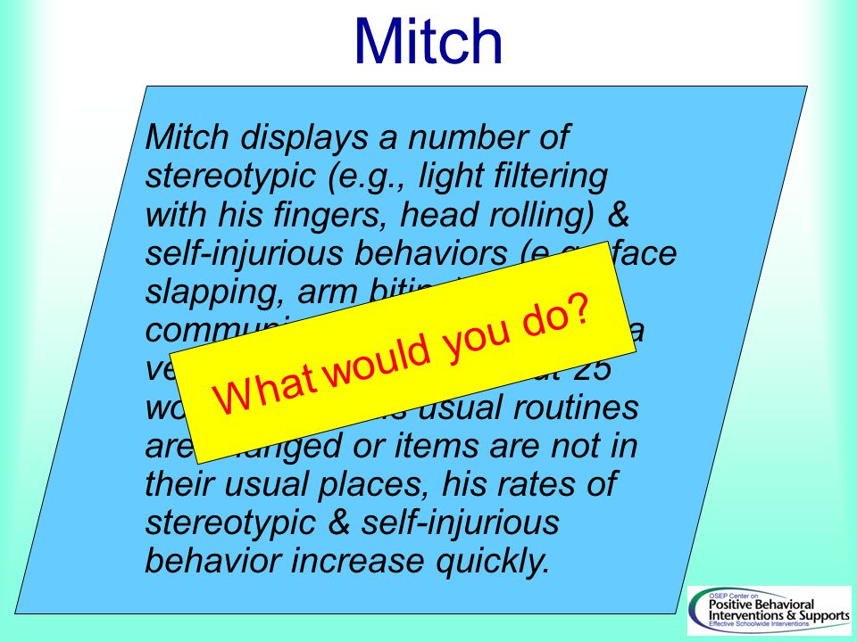 Mitch displays a number of stereotypic (e.g., light filtering with his fingers, head rolling) & self-injurious behaviors (e.g., face slapping, arm bit