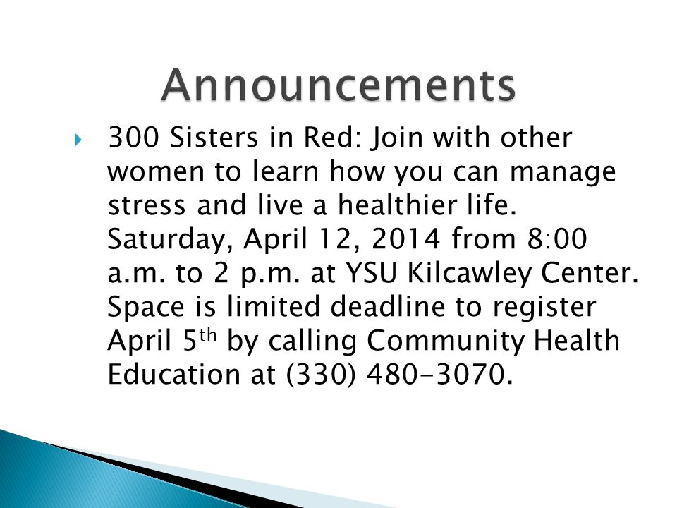 300 Sisters in Red: Join with other women to learn how you can manage stress and live a healthier life.