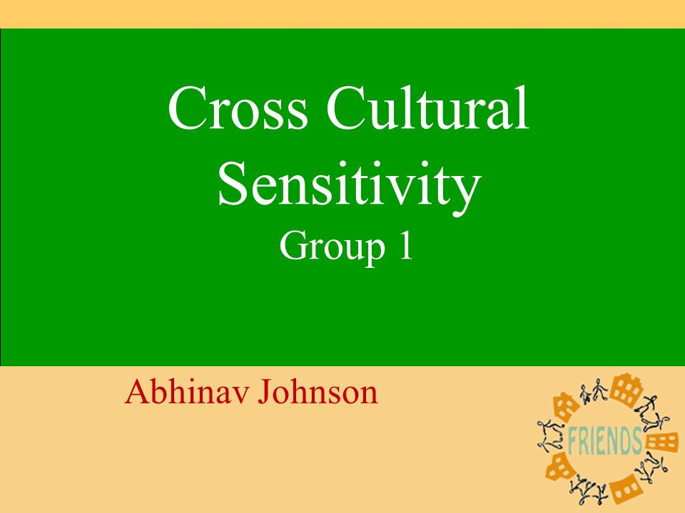1 Cross Cultural Sensitivity Group 1 Abhinav Johnson