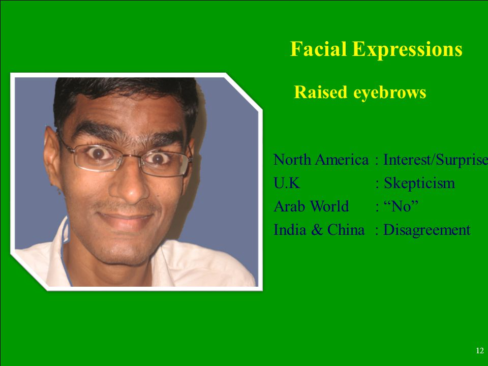 12 Raised eyebrows Facial Expressions North America : Interest/Surprise U.K : Skepticism Arab World : No India & China : Disagreement