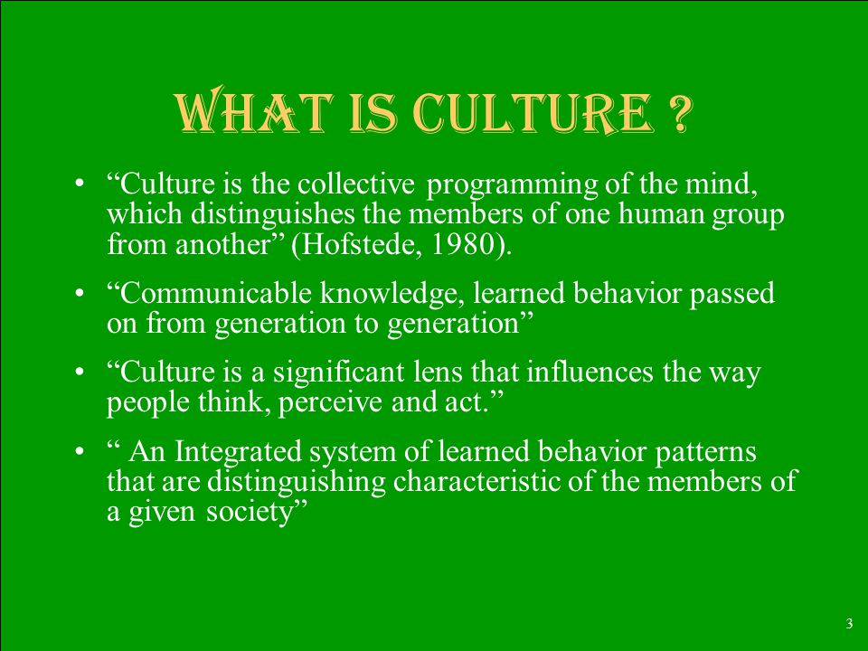 3 What is culture .
