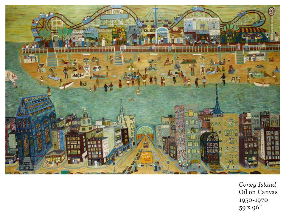 Coney Island Oil on Canvas 1950-1970 59 x 96