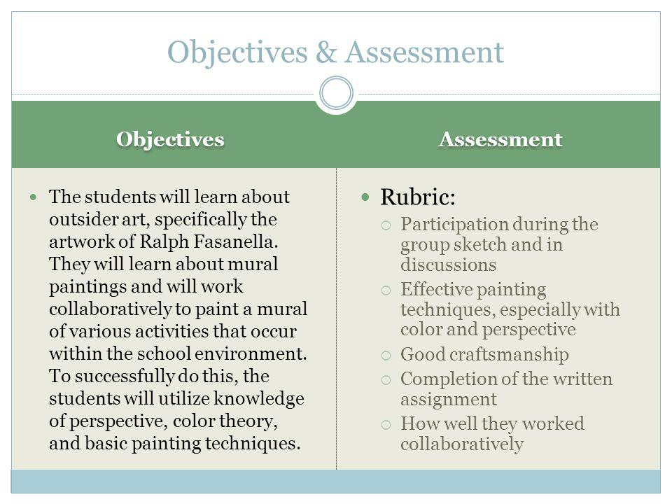 Objectives Assessment The students will learn about outsider art, specifically the artwork of Ralph Fasanella.