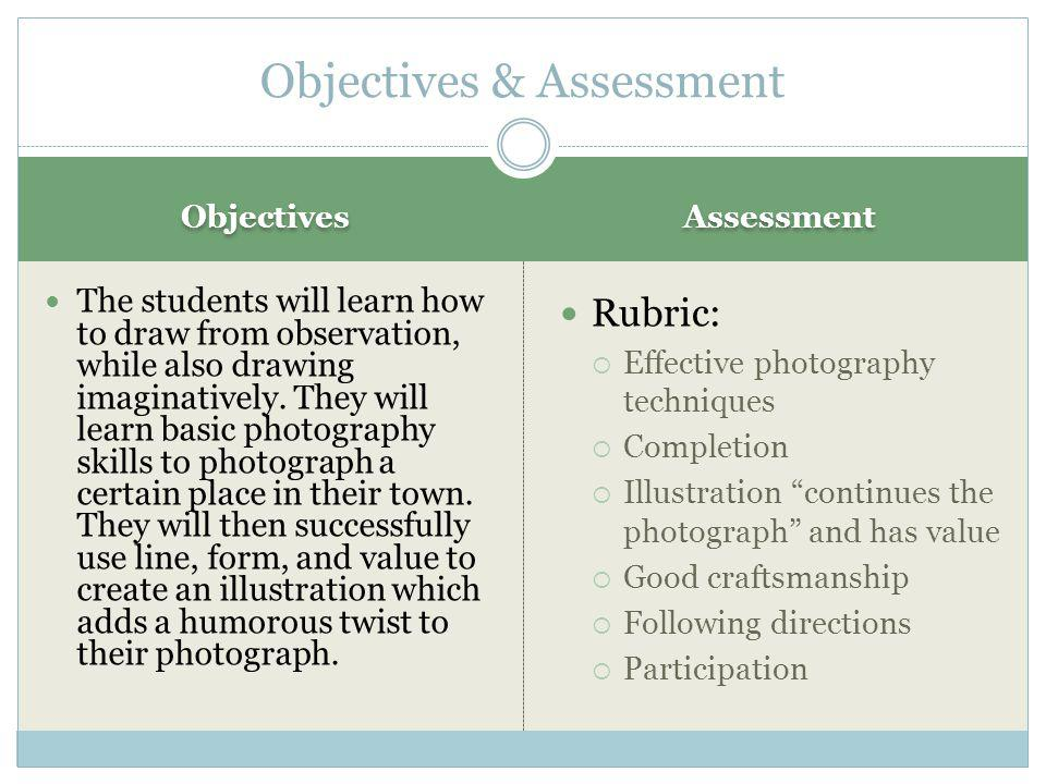 Objectives Assessment The students will learn how to draw from observation, while also drawing imaginatively.