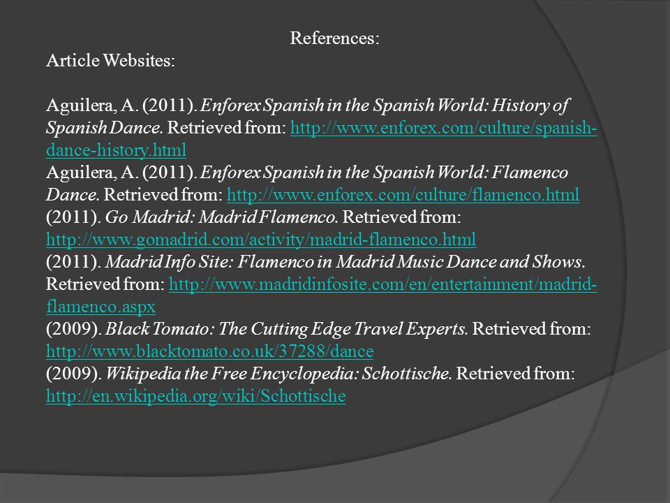 References: Article Websites: Aguilera, A. (2011).
