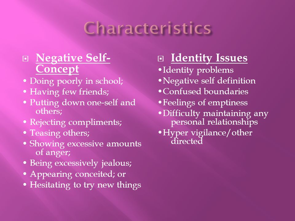 Negative Self- Concept Doing poorly in school; Having few friends; Putting down one-self and others; Rejecting compliments; Teasing others; Showing ex