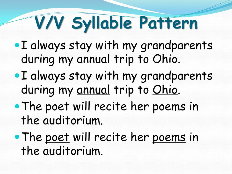 V/V Syllable Pattern I always stay with my grandparents during my annual trip to Ohio. The poet will recite her poems in the auditorium.
