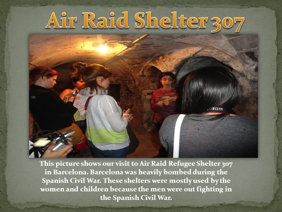 This picture shows our visit to Air Raid Refugee Shelter 307 in Barcelona.