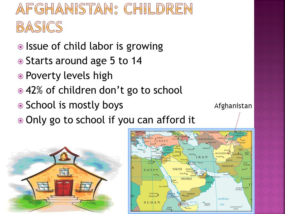 Issue of child labor is growing Starts around age 5 to 14 Poverty levels high 42% of children dont go to school School is mostly boys Only go to school if you can afford it Afghanistan