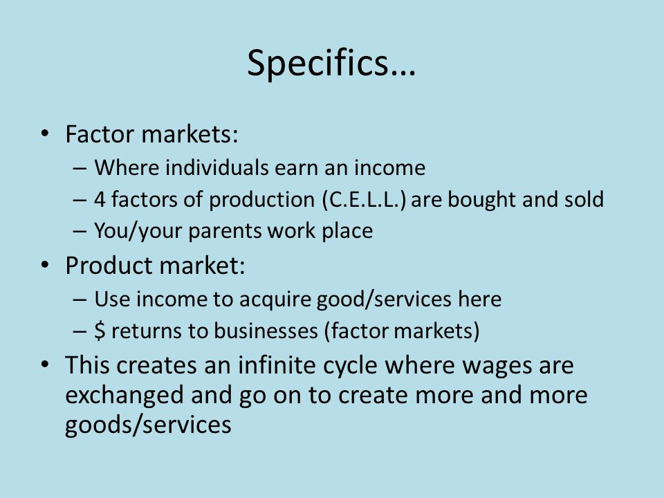 Specifics… Factor markets: – Where individuals earn an income – 4 factors of production (C.E.L.L.) are bought and sold – You/your parents work place P