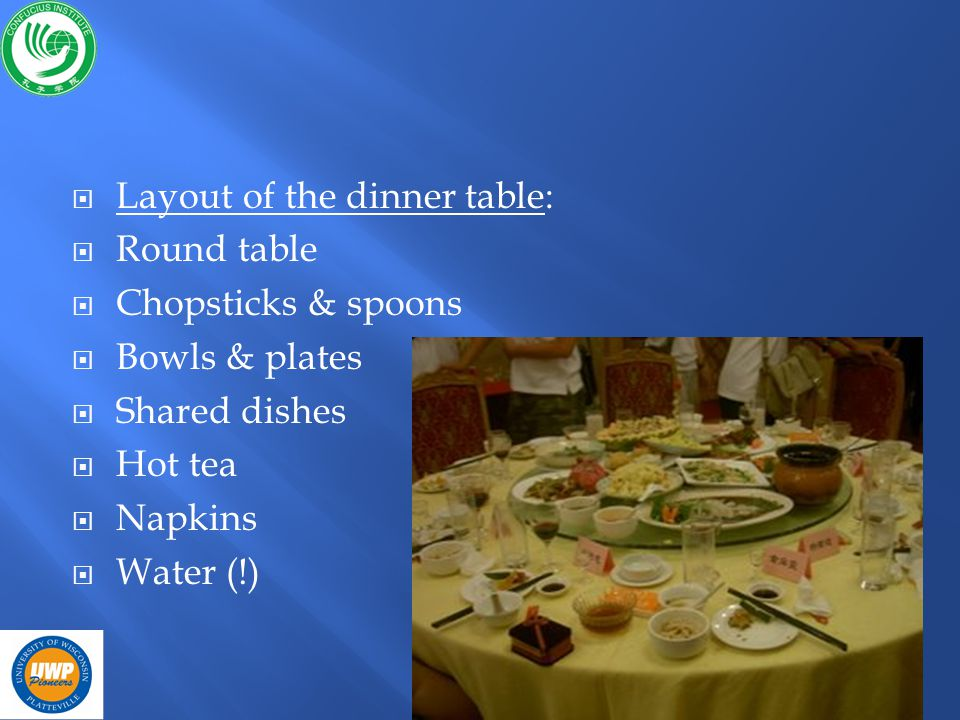 Layout of the dinner table: Round table Chopsticks & spoons Bowls & plates Shared dishes Hot tea Napkins Water (!)
