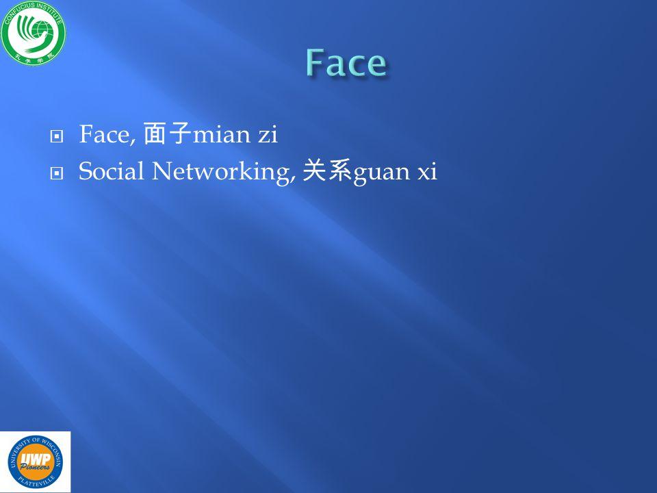 Face, mian zi Social Networking, guan xi