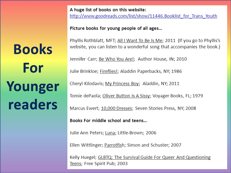A huge list of books on this website: http://www.goodreads.com/list/show/11446.Booklist_for_Trans_Youth Picture books for young people of all ages… Ph