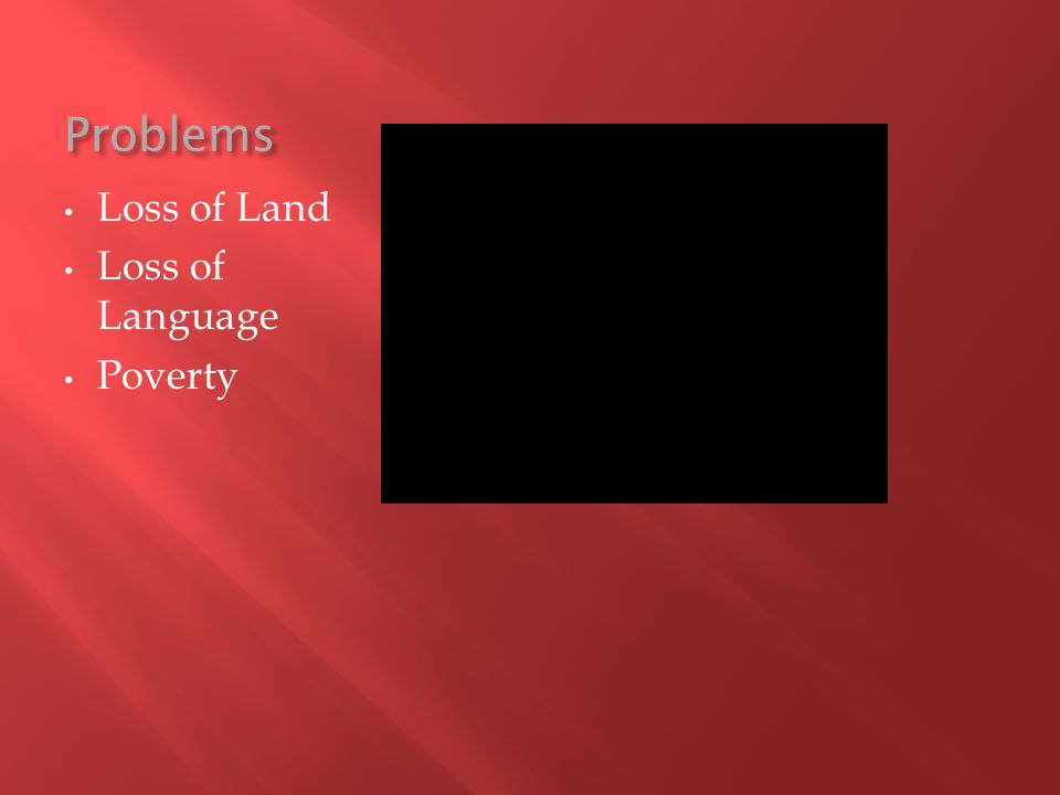 Problems Loss of Land Loss of Language Poverty