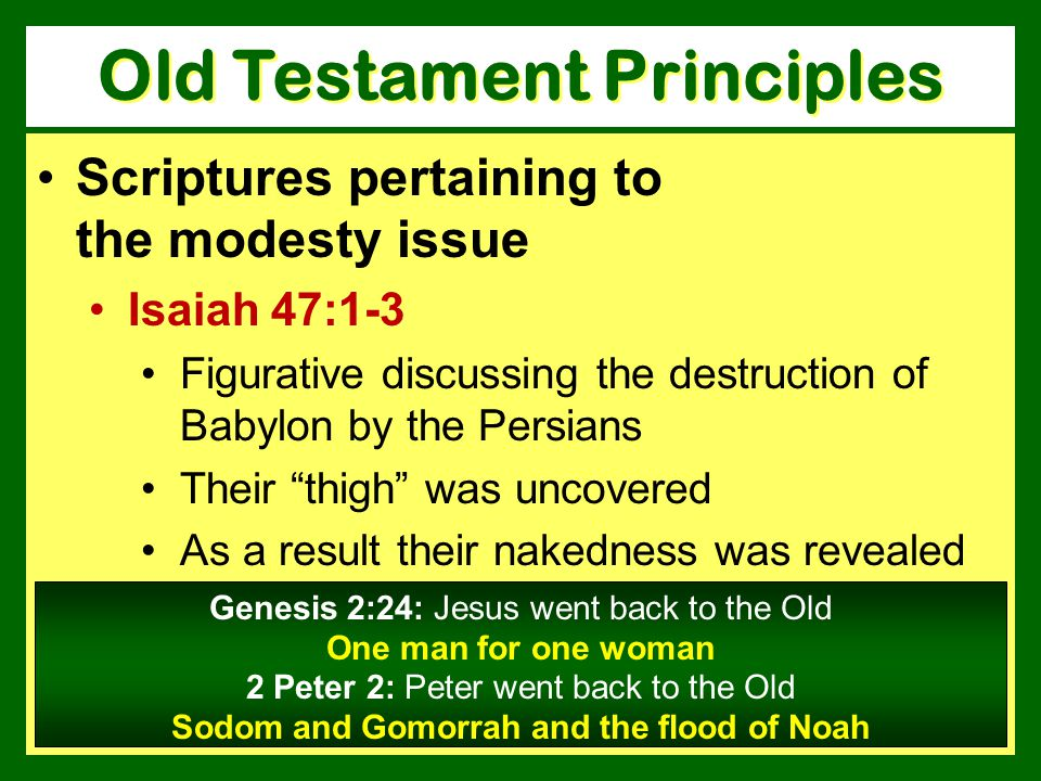Scriptures pertaining to the modesty issue Isaiah 47:1-3 Figurative discussing the destruction of Babylon by the Persians Their thigh was uncovered As