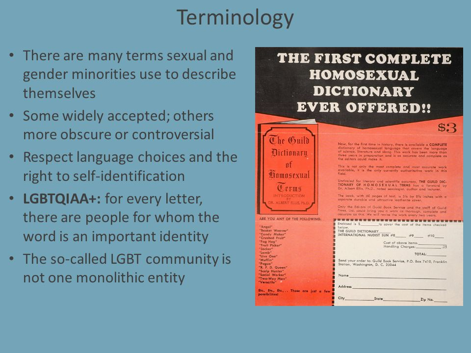 Terminology There are many terms sexual and gender minorities use to describe themselves Some widely accepted; others more obscure or controversial Re