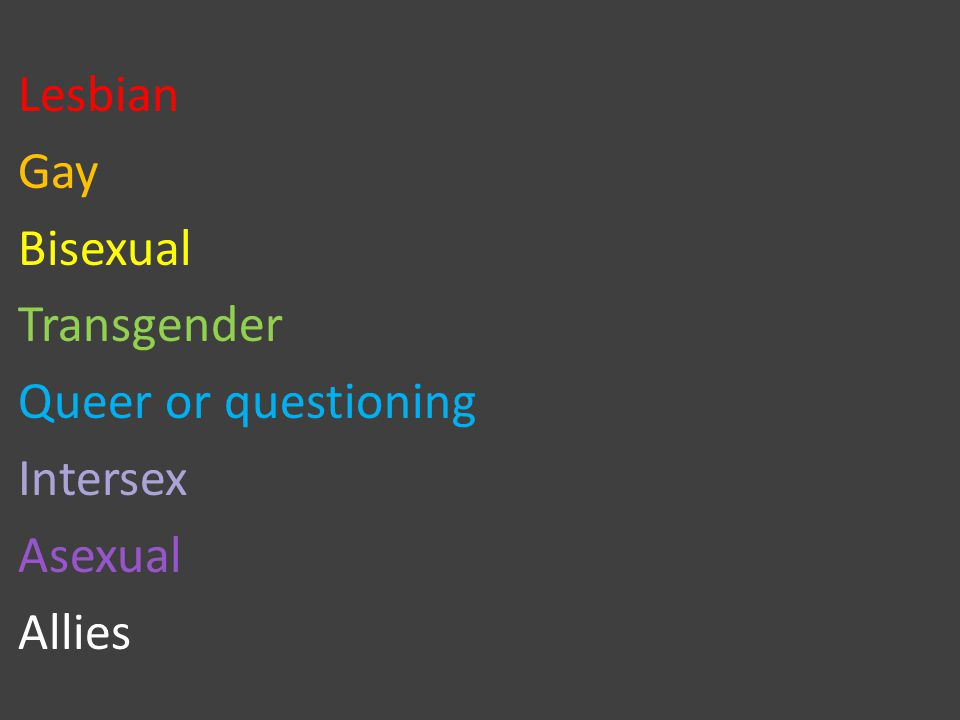 Lesbian Gay Bisexual Transgender Queer or questioning Intersex Asexual Allies