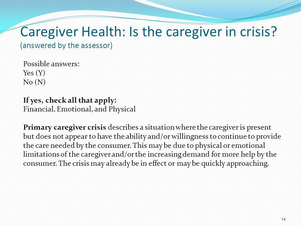 Caregiver Health: Is the caregiver in crisis.